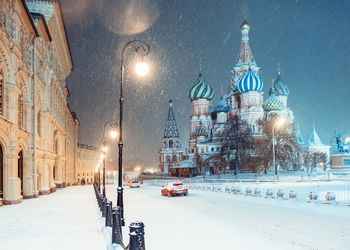 A snowy winter day in Moscow, Russia