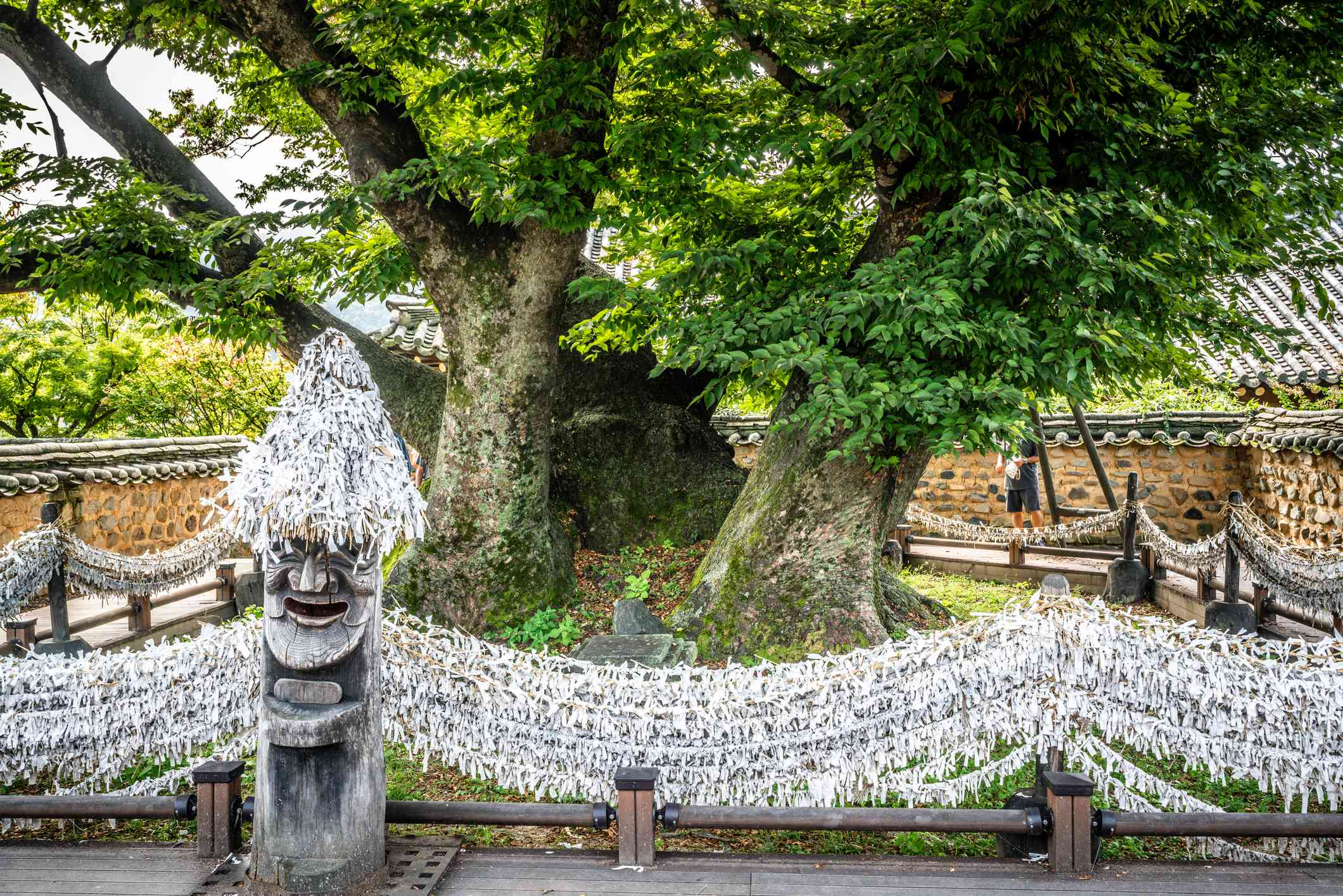 Traditional statue in Hahoe Folk Village, in Andong, South Korea