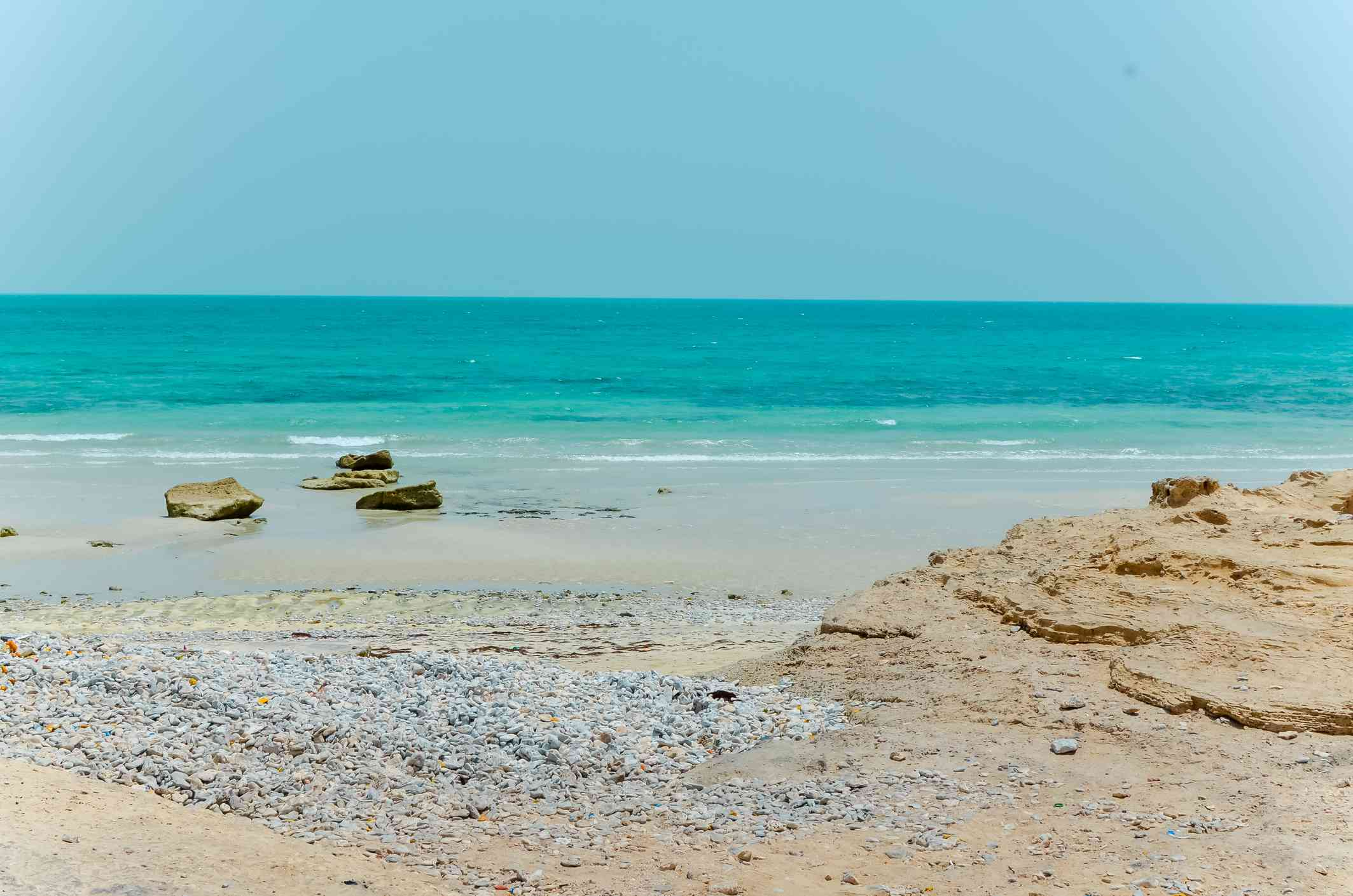 Qatar Fuwairit beach with some rock formations emerging from the sand