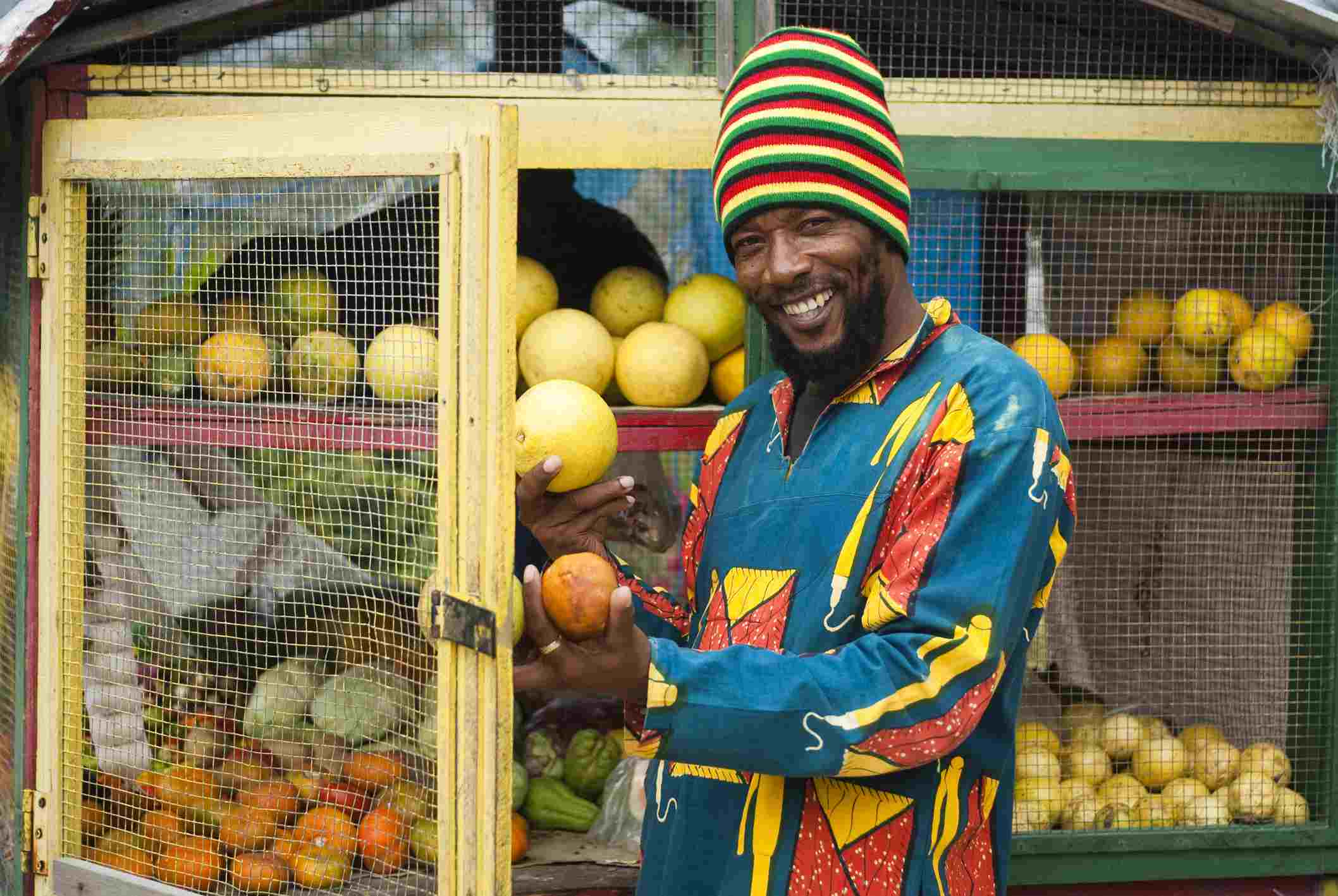 Reggae musician 'Sugar B' at Tony's Fruit Stand in West End.