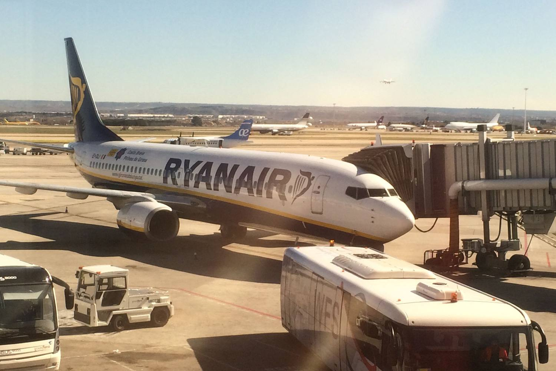 A Ryanair Boeing 737 at Spain's Madrid–Barajas Airport.