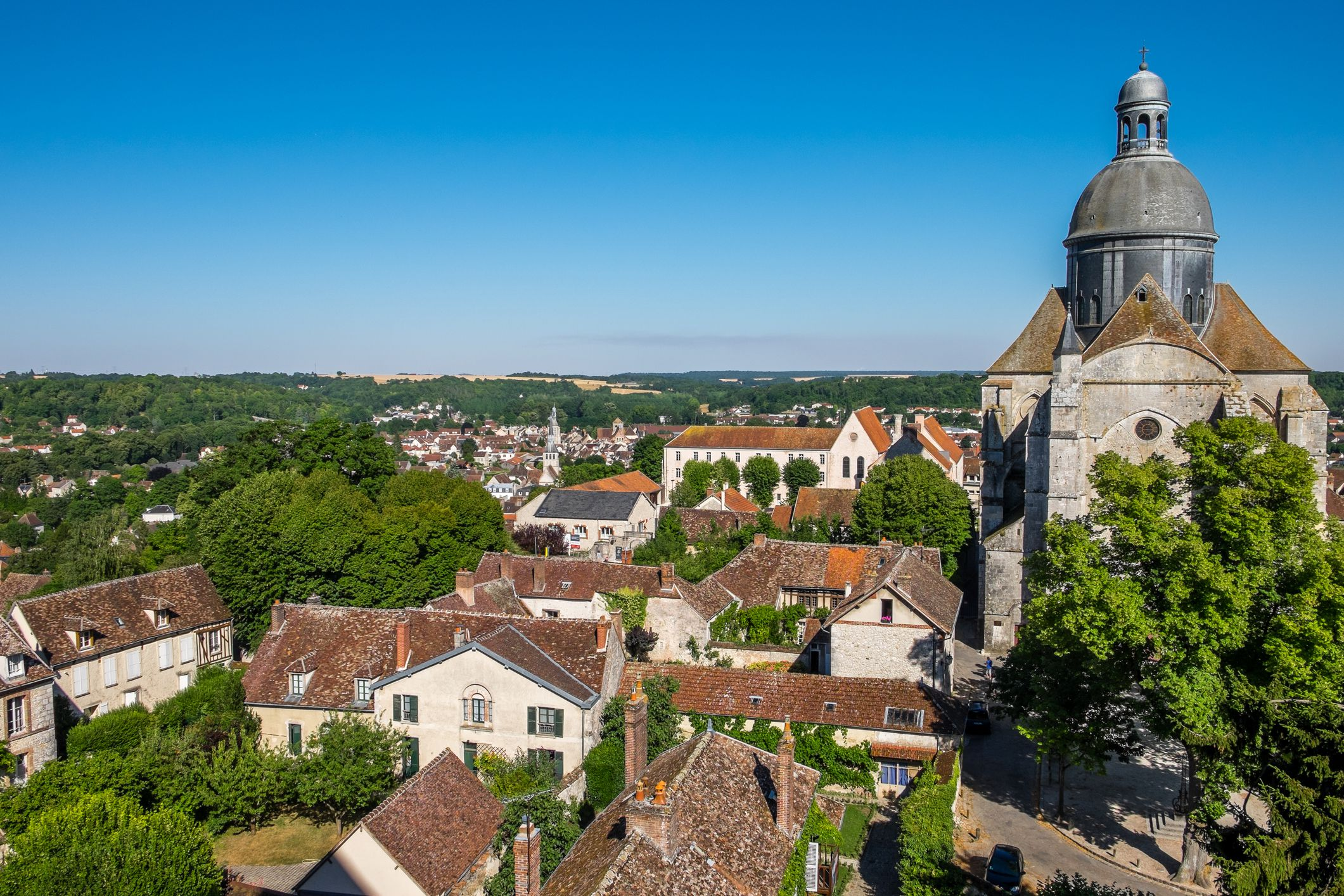 Aerial view of the town of Provins in France.