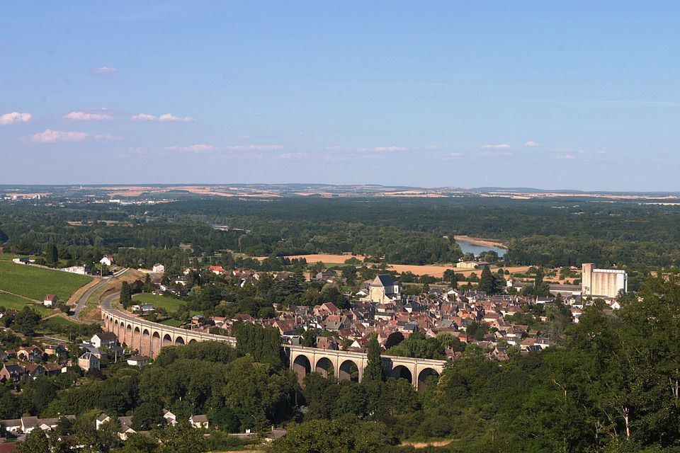 An aerial view of Sancerre, one of the Loire Valley's famous wine-producing towns