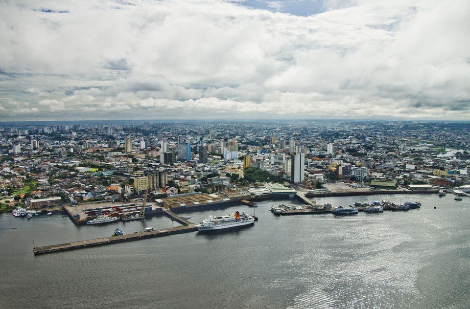 Vista aérea de Manaus, Amazonas, río Amazonas