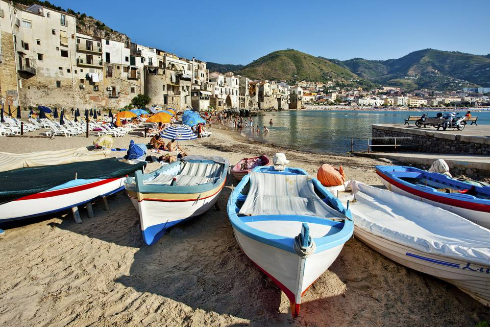 Boats on the beach, Cefalu, Palermo, Sicily, Italy
