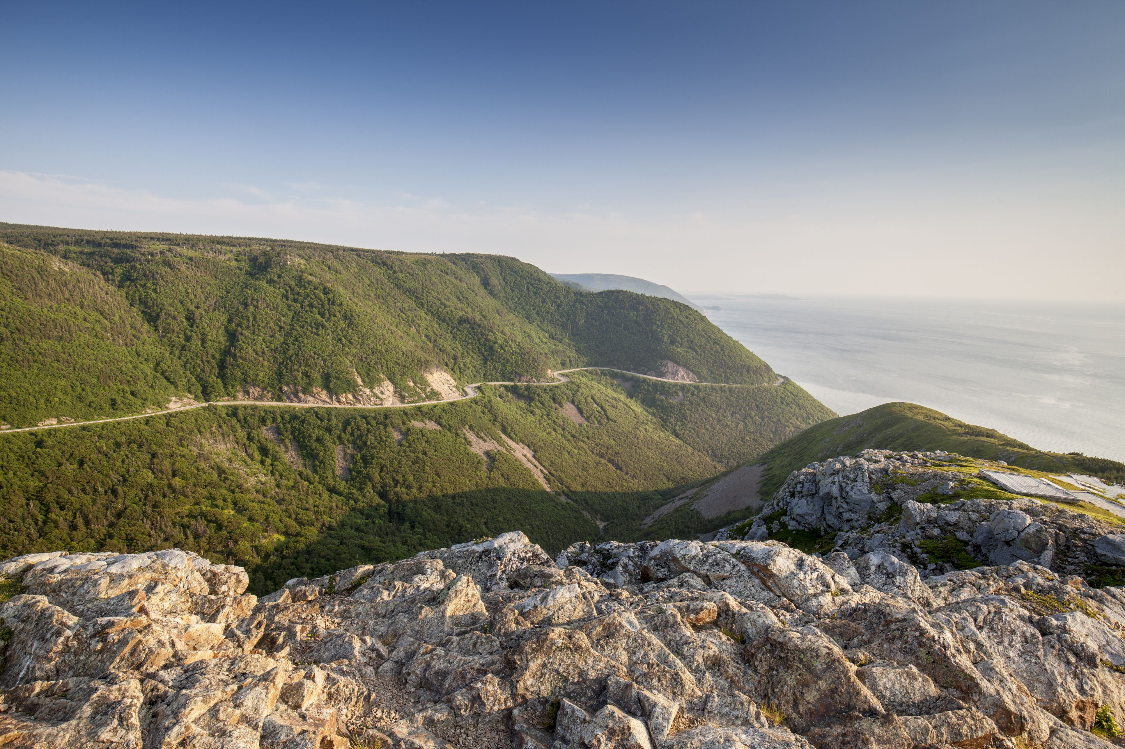 The Cabot Trail winds through the mountains in Cape Breton Highlands National Park Nova Scotia, Canada