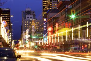 Neon lights and traffic at Granville Street