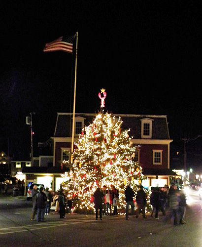 christmas tree in dock square kennebunkport maine photo