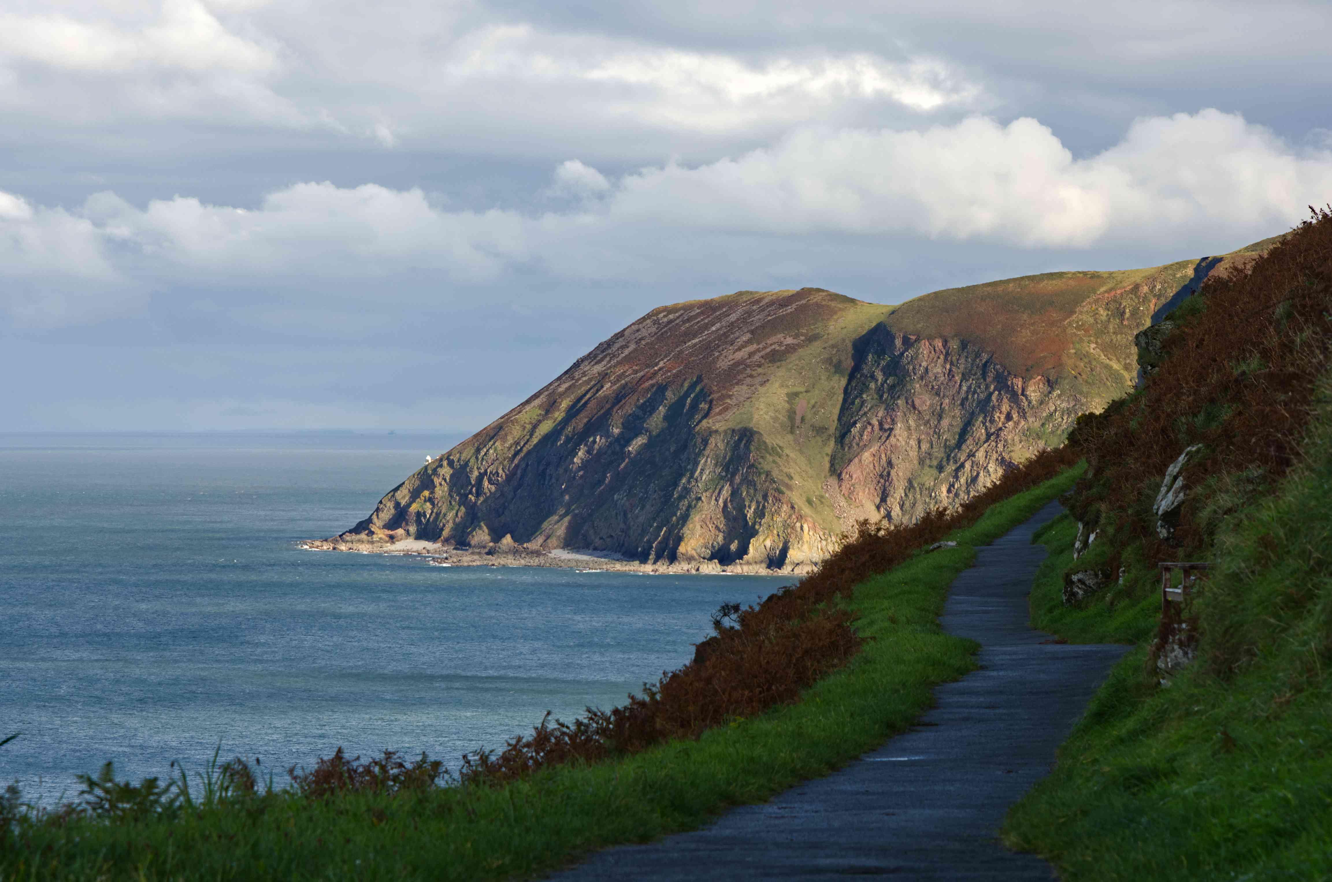 Cliff edge pathway near Lynton, Devon, England