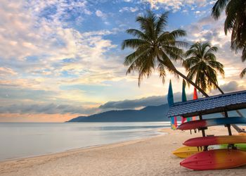 Beach with palm trees at sunrise on Tioman Island