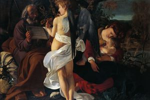 Rest on Flight into Egypt by Michelangelo Merisi da Caravaggio (1571-1610), oil on canvas, 1355 x 1665 cm, 1595-1596