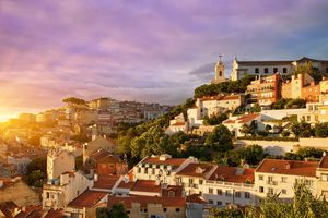 Houses on a hill in Lisbon, Portugal