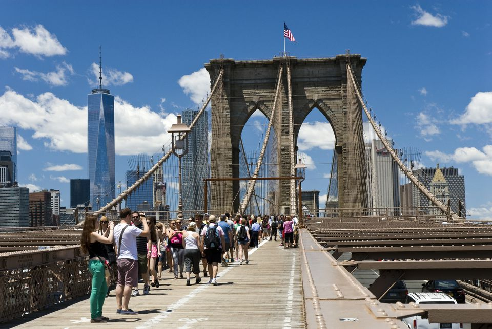 Tourists on Brooklyn Bridge