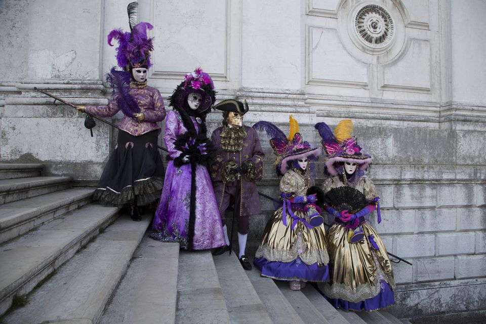Group on Salute Steps Venice Carnival celebration