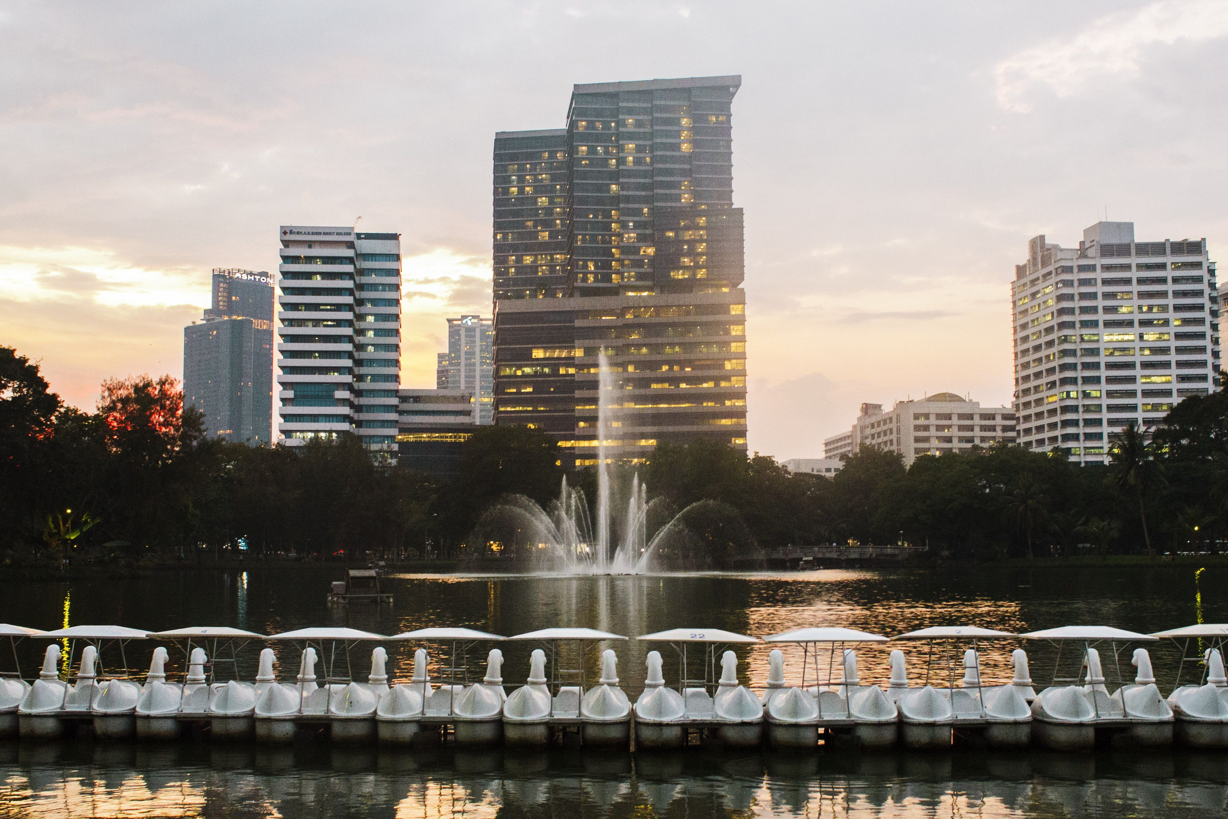 The lake in Lumphini Park during dusk
