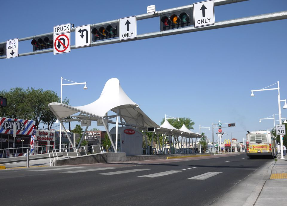 View, looking west, of the University of New Mexico (UNM) Popejoy bus stop on Central Avenue (Route 66) in Albuquerque, New Mexico