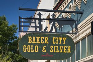 Wrought iron sign on Main Street in Baker City, Oregon