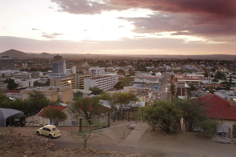 Evening view over Windhoek, Windhoek, Namibia, Africa