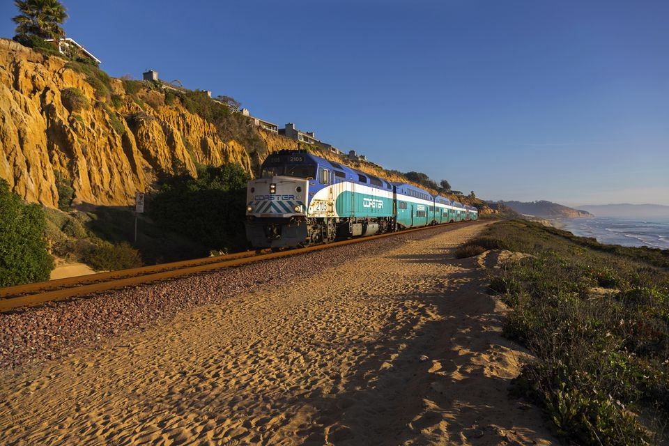 Coaster Commuter Train passing near Del Mar in San Diego County