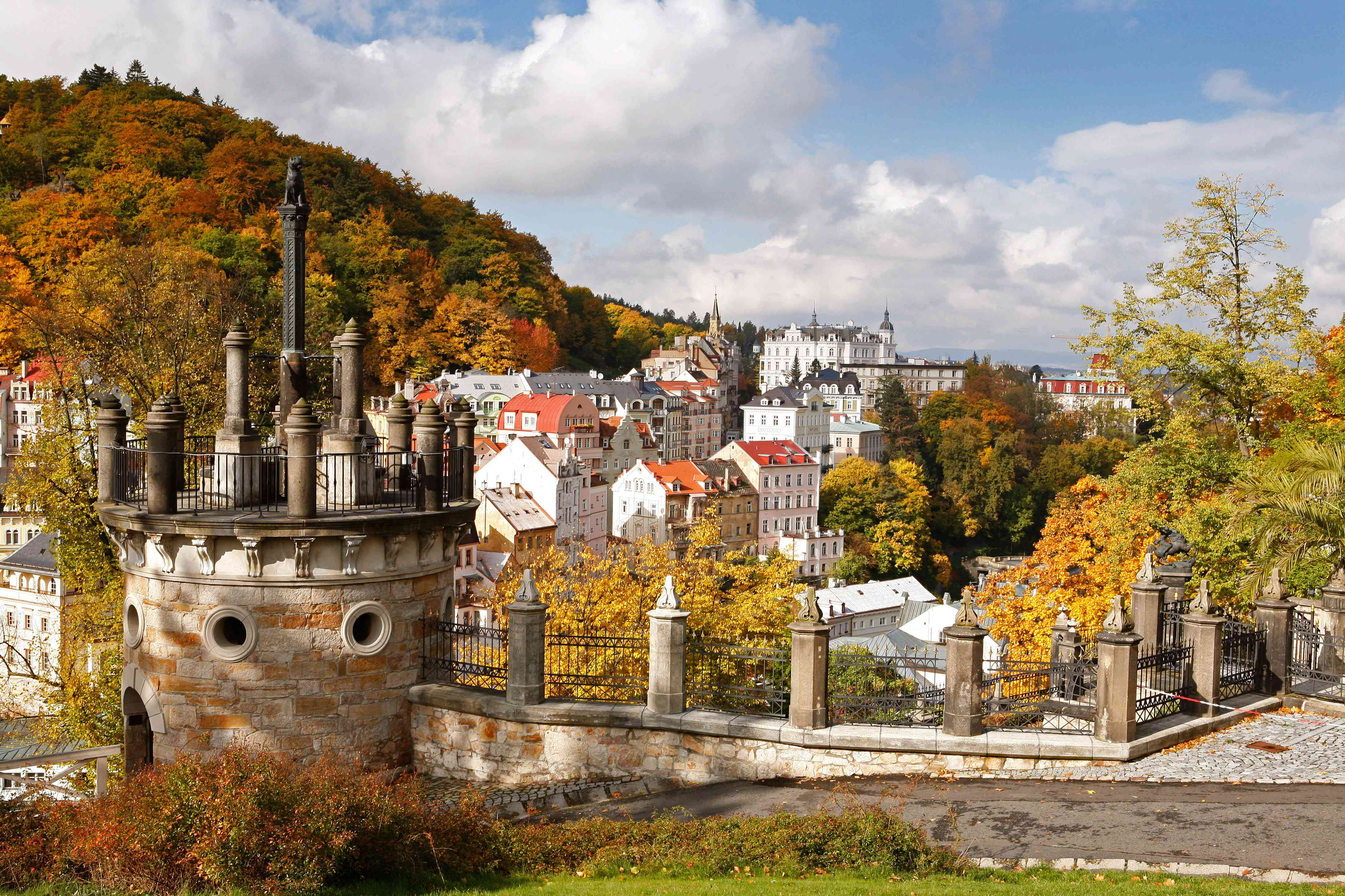 View of cityscape of Karlovy Vary, Czech Republic in autumn