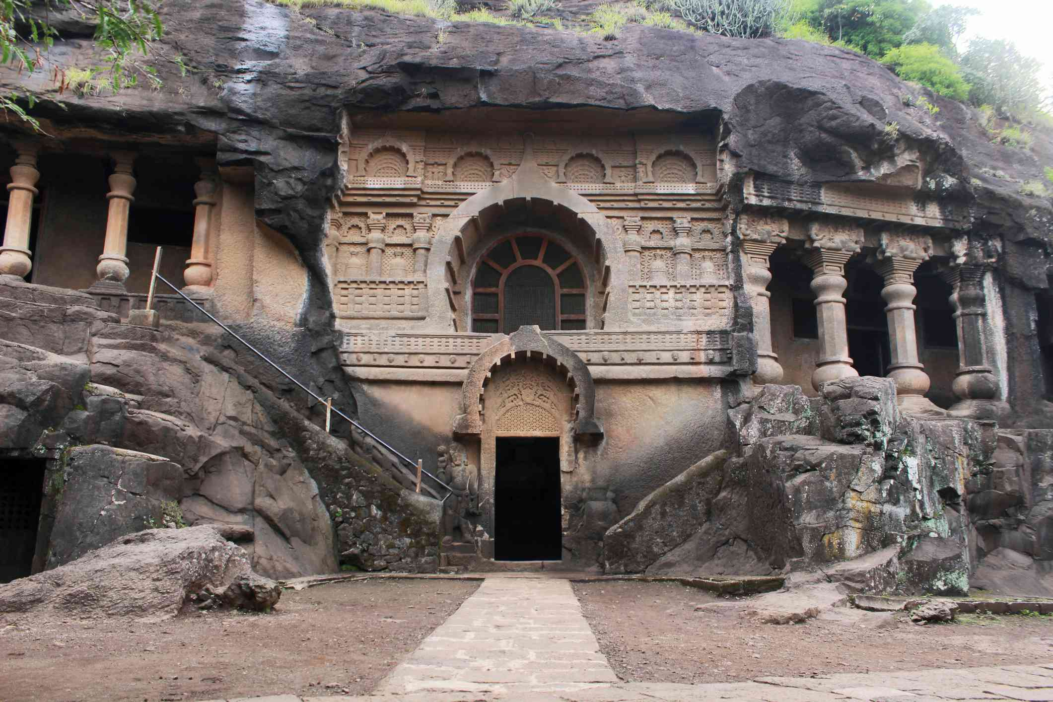 Cave 19 : Facade of Vihara of Pandavleni Cave. Nasik