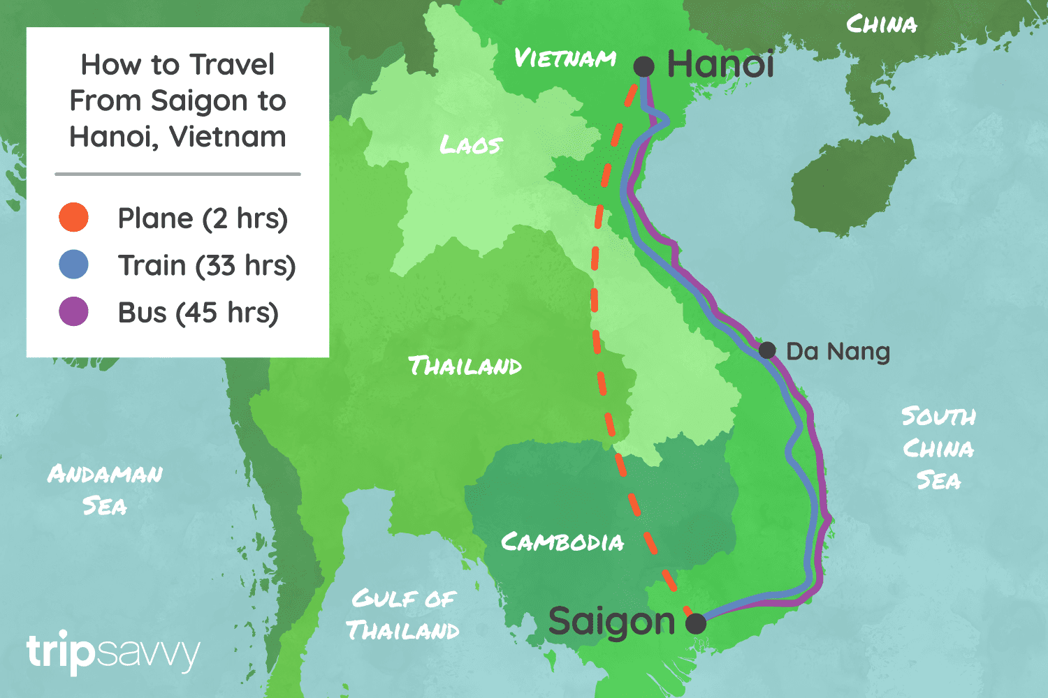 From Saigon to Hanoi By Bus Train and Flight