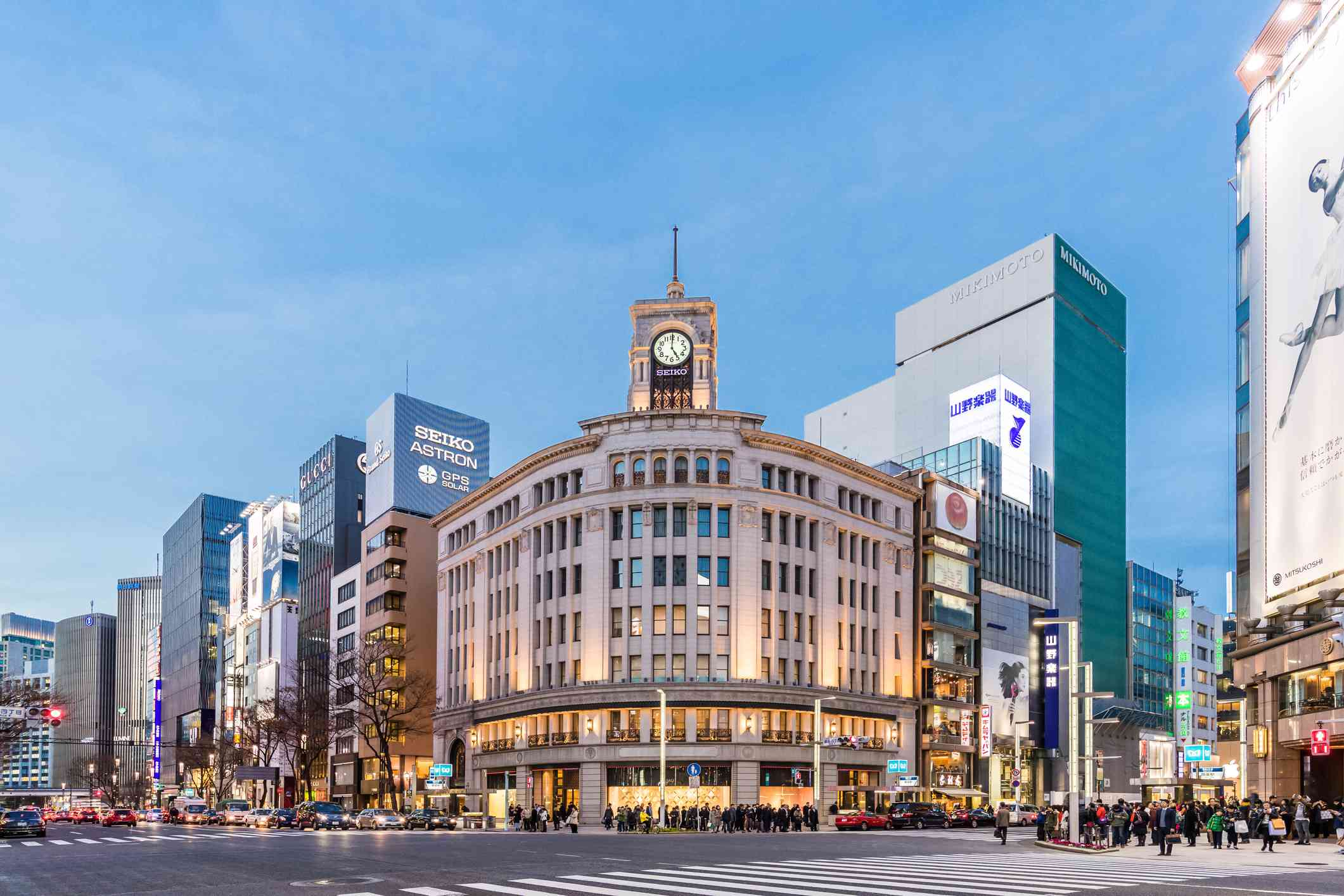 Cityscape in the Ginza District. The district offers high end retail shopping.