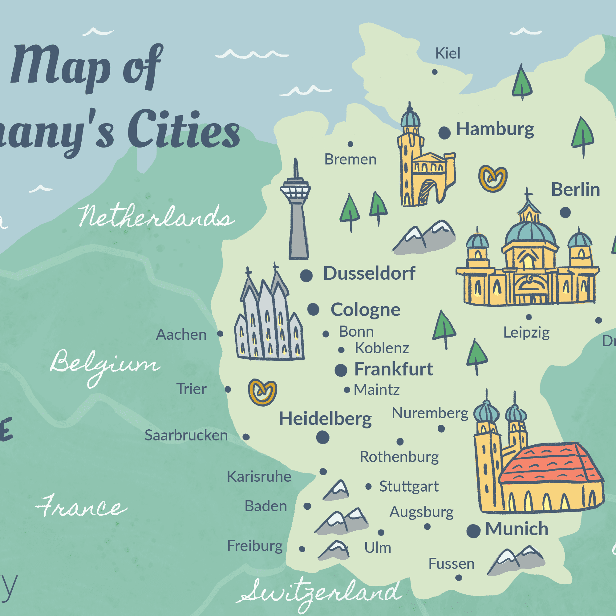 Map Of Germany Showing Dusseldorf.Germany Cities Map And Travel Guide