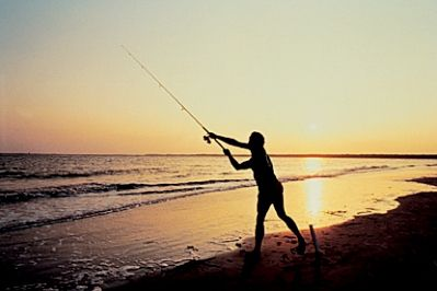 Surfcasting at Sunset