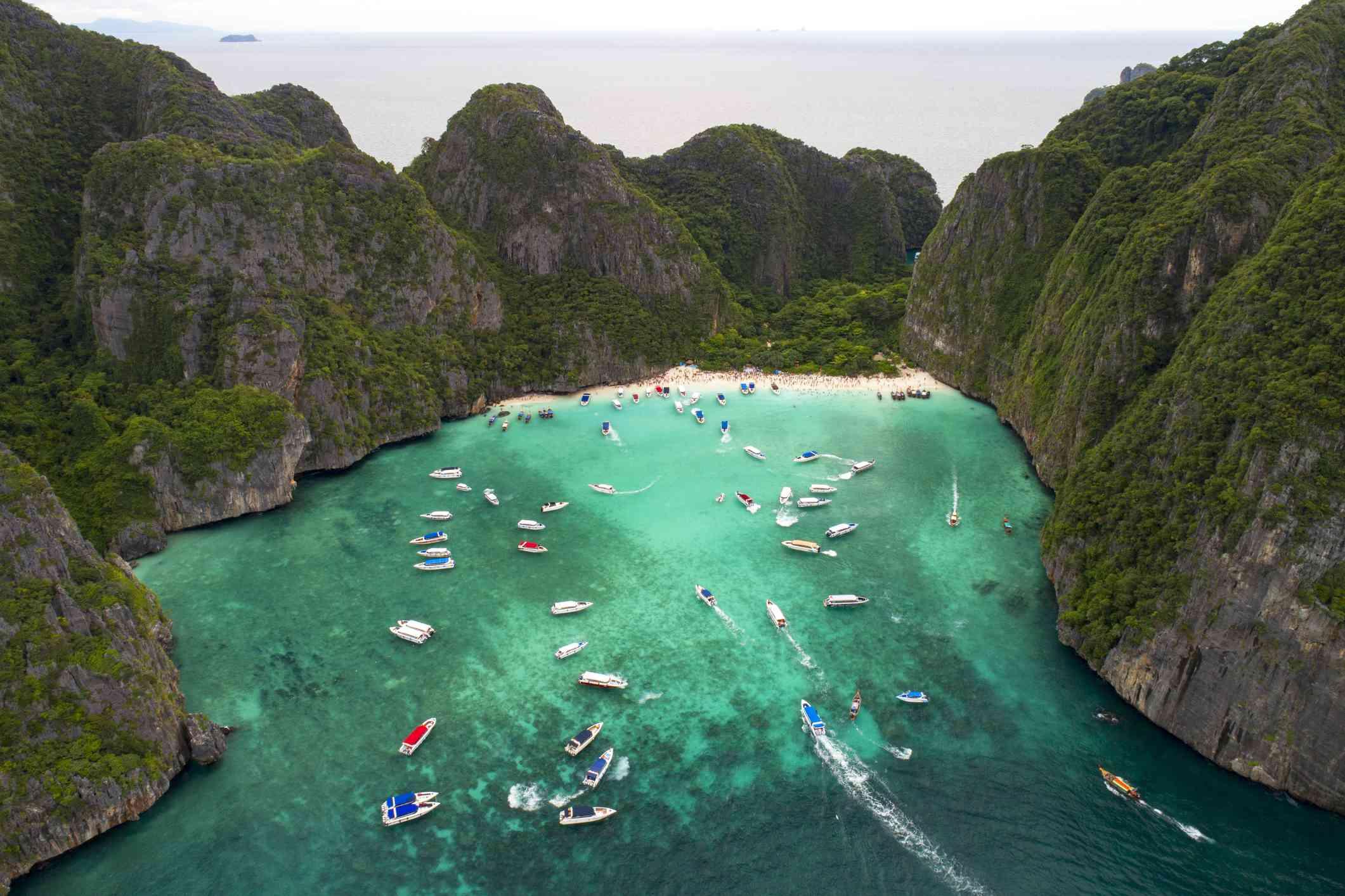 Maya Bay, Thailand, prior to closure in 2018