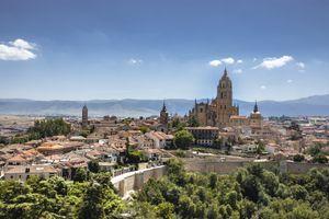Panoramic view of the historic center of Segovia from the Alcazar, Segovia, Spain