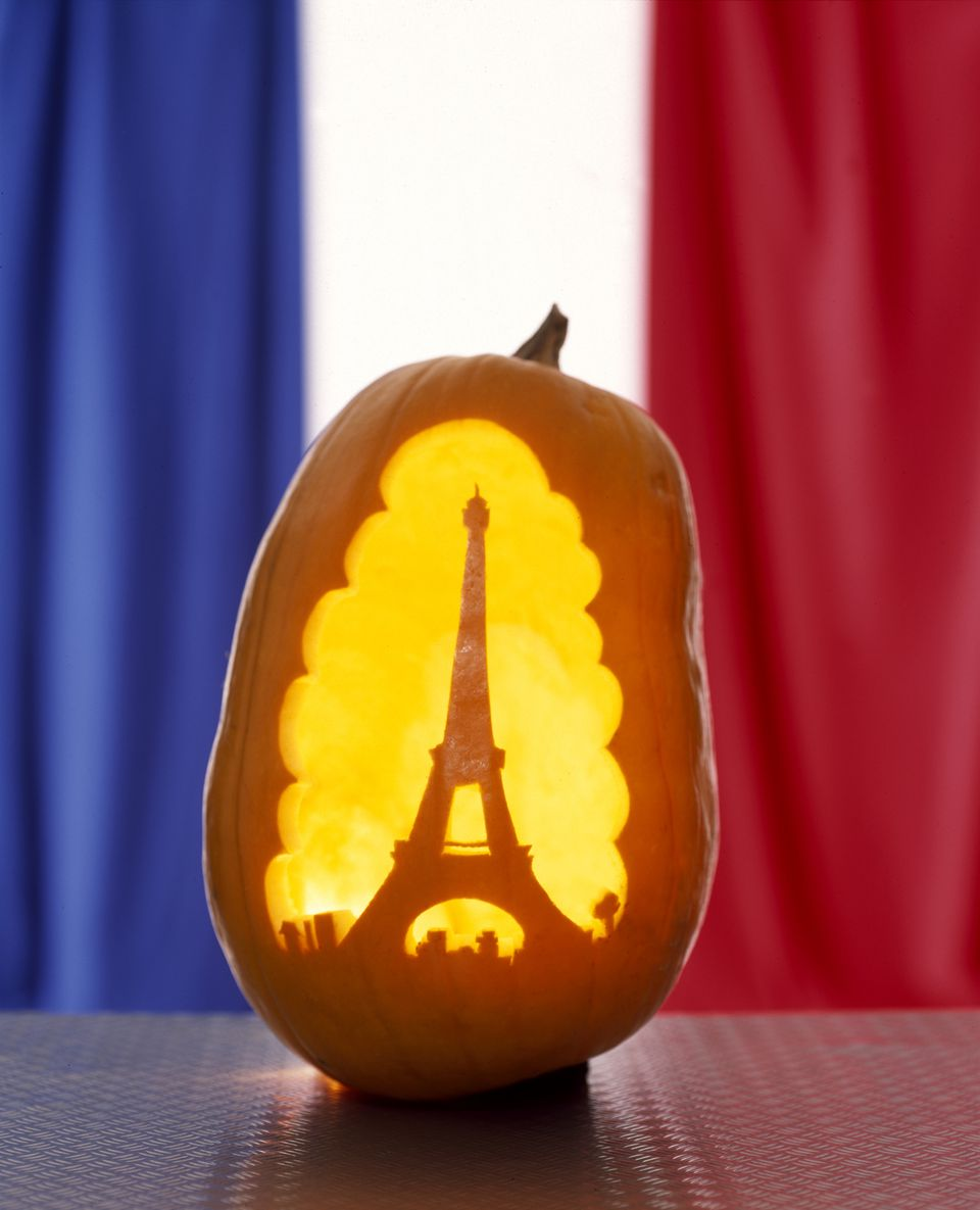 Pumpkin carved as the Eiffel Tower