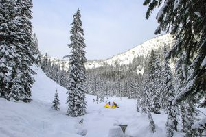 People camping and cross country skiing in the Cascade Mountains