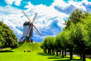 A windmill on a grassy hill lined with trees