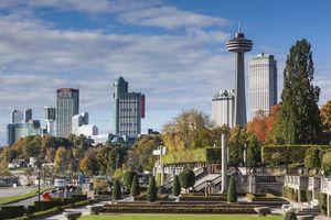 High-rise buildings by falls, Niagara Falls, Ontario, Canada