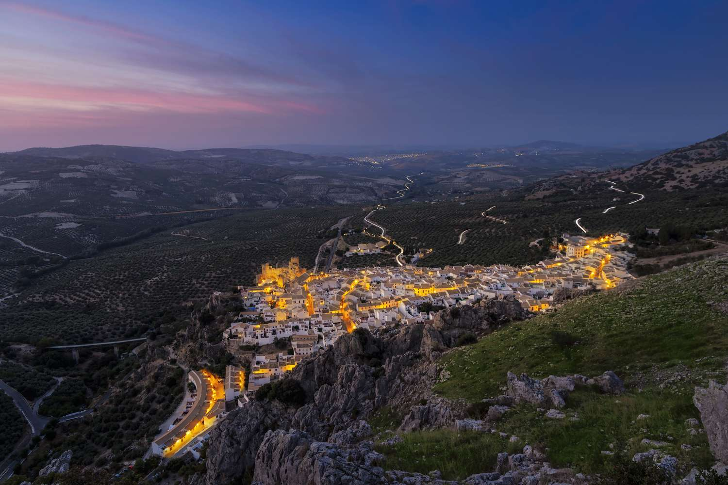 The town of Zuheros, Spain illuminated at nights