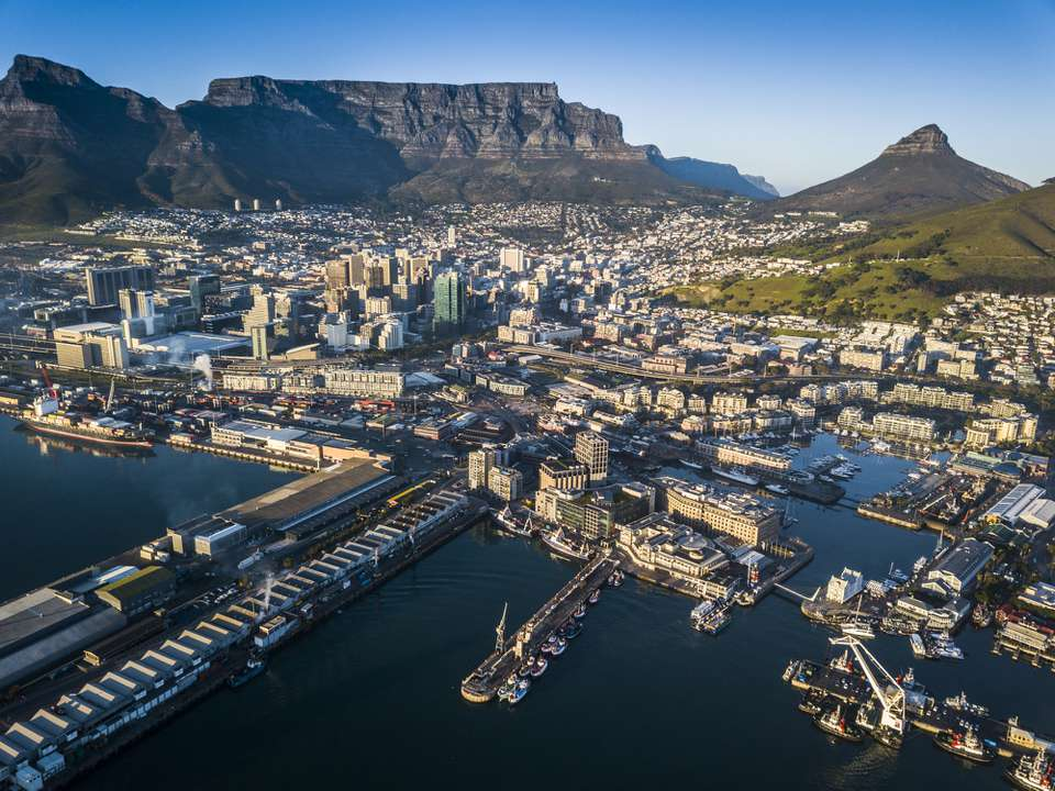 Aerial view of Cape Town and it's majestic, flat-topped Table Mountain