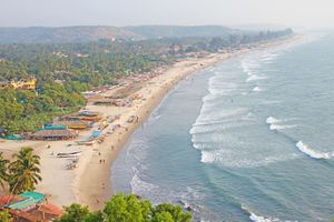 Goa coastline and Arambol beach.