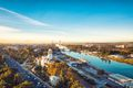 Drone photo of the Guadalquivir river in Seville, Spain