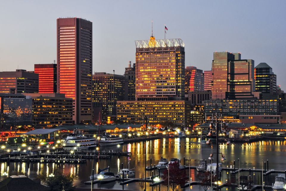 Baltimore city skyline at dusk, Maryland