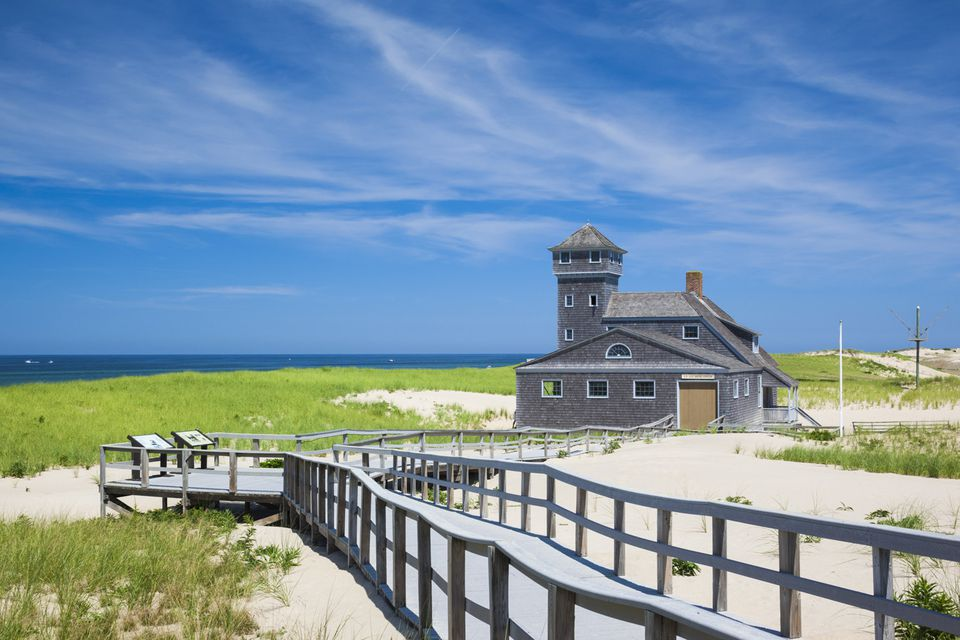 A walkway and beachside structure at the Race Point Cape Cod National Seashore