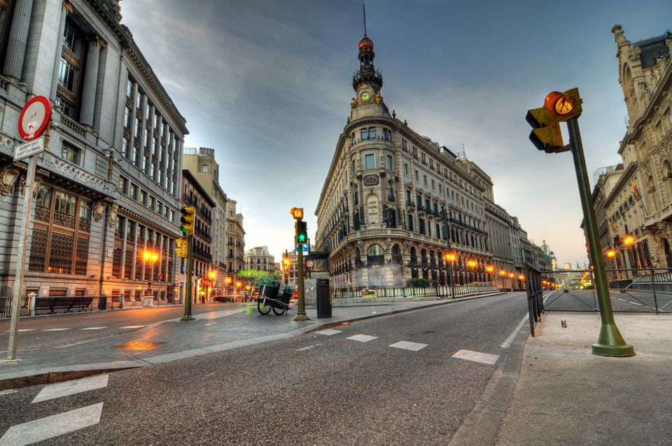 Alcala and Gran Via streets confluence in Madrid