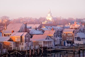 Nantucket town at sunrise in the fog