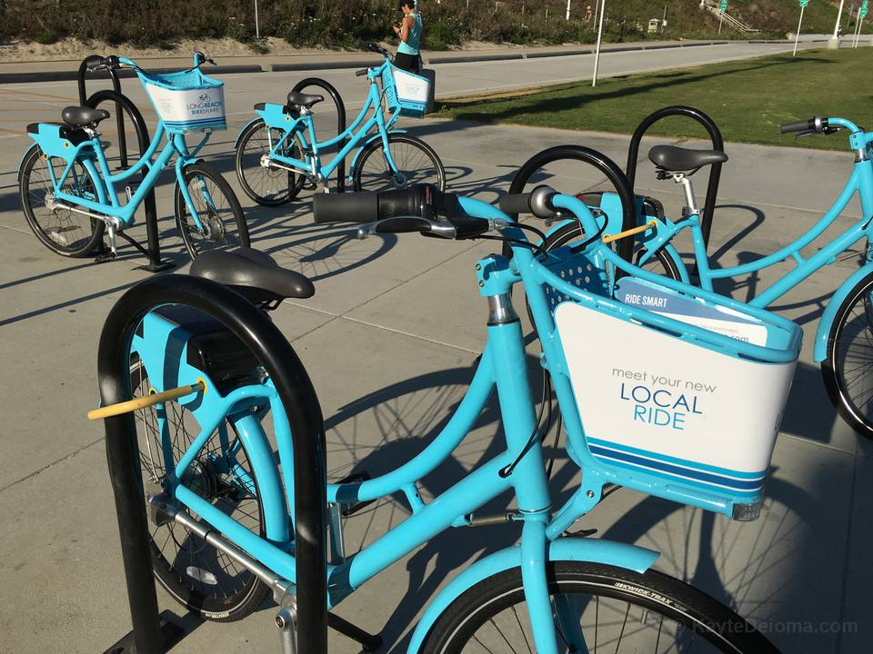Long Beach Bike Share bikes at the beach