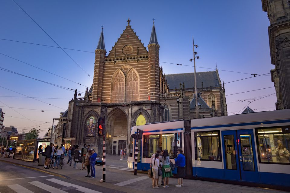 Nieuwe kerk (New church), Dam square, Amsterdam city center.