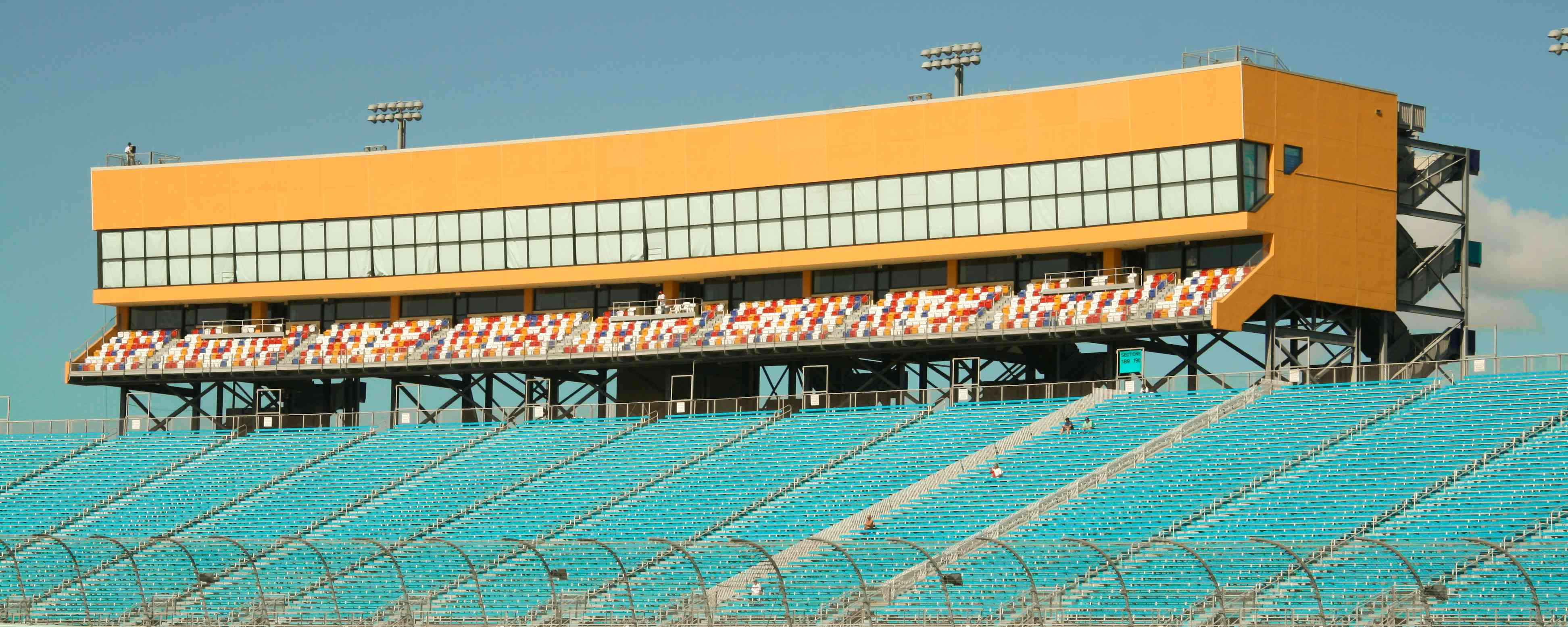 Blue seats and yellow observation box at Homestead-Miami Speedway