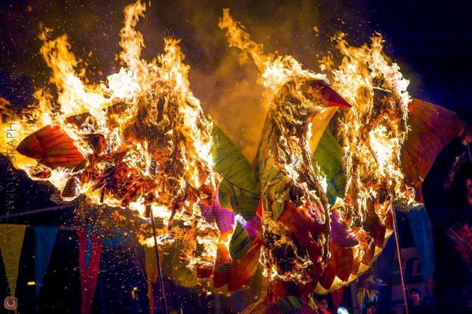 Bird lantern on fire at the Kensington Market Winter Solstice Parade