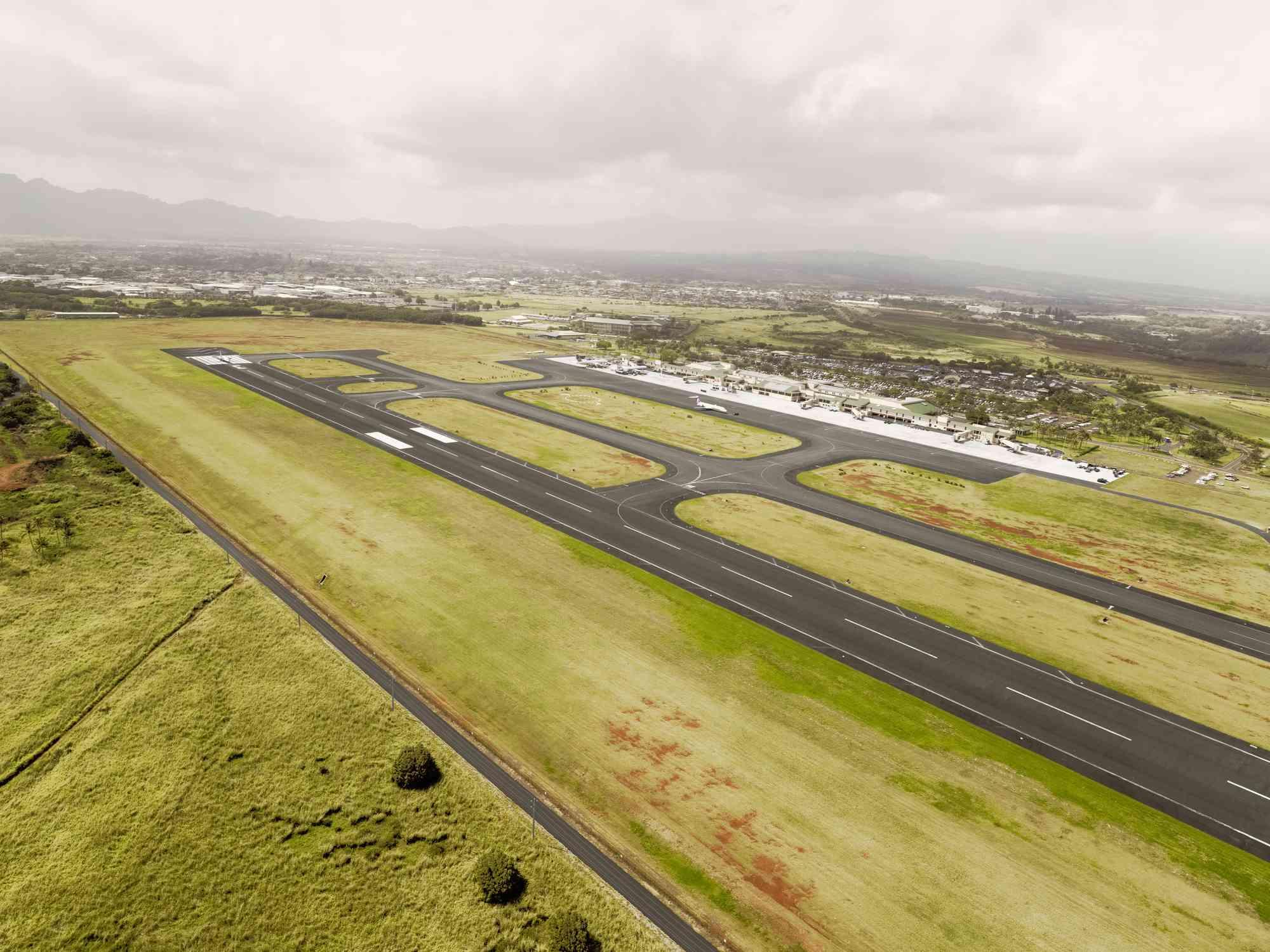 Aerial view of Hilo International Airport Runway, Hawaii