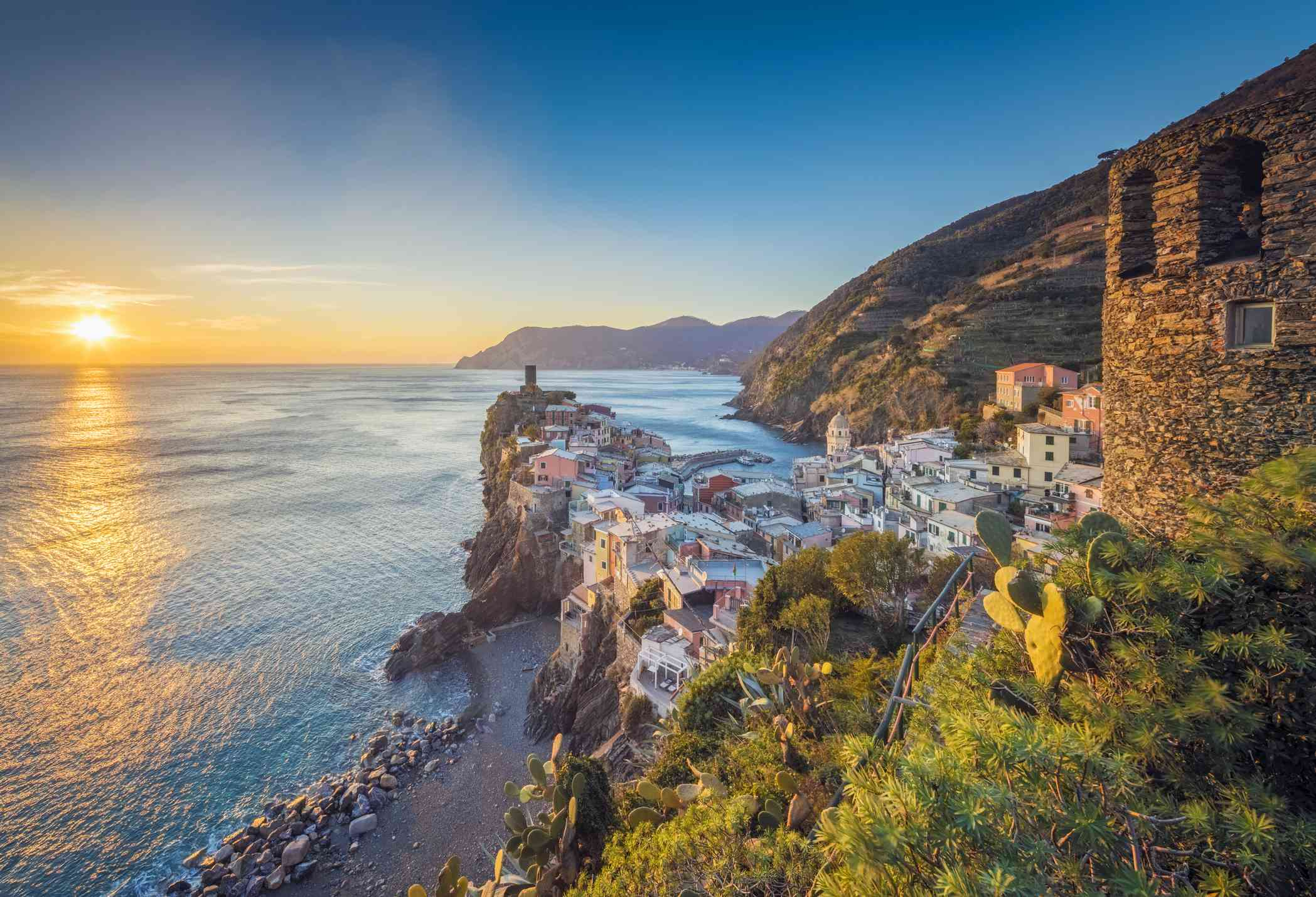 Sunset over the sea at Vernazza