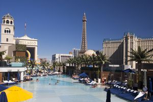 View of a pool and the Bellagio in Las Vegas